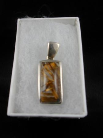 09-00109 Copper Rutilated Quartz in Sterling Silver Pendant