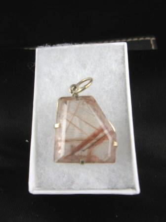 09-00116 Faceted Rutilated Quartz Pendant in Silver