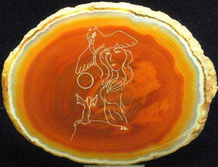09-01506 Polished Agate Etching - Lunar Prayer